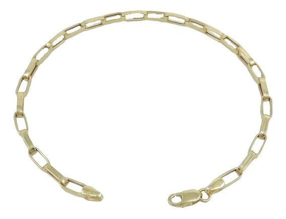 Pulseira Cadeado Alongado 22cm Masculina Ouro 18k 750