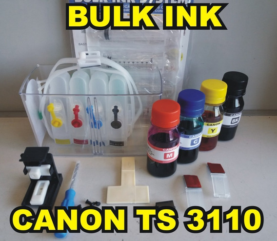 Bulk Ink Canon Montado Ts3110 + 400ml De Tinta Video Aula