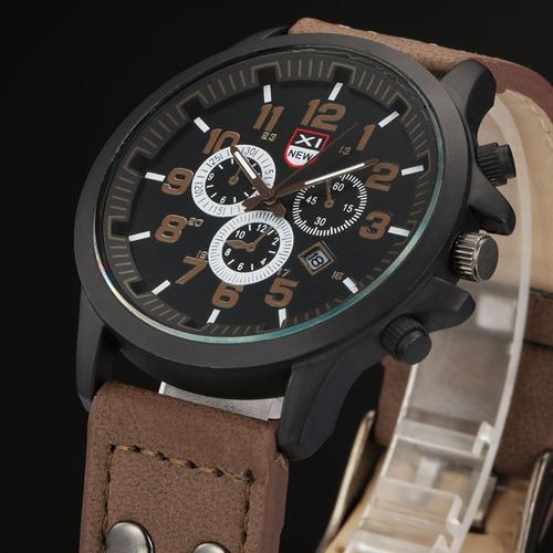 Imagem 1 de 10 de Relógio Militar Masculino Pulseira De Couro Ou Nylon Promoçã