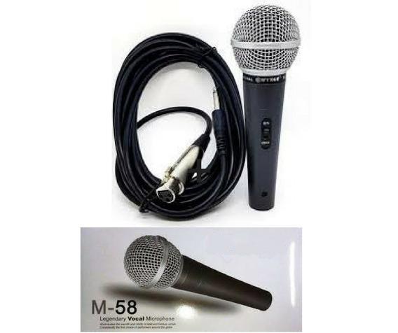 Microfone Dinâmico Prrofissional M58 Tipo Shure Com Cabo 3m