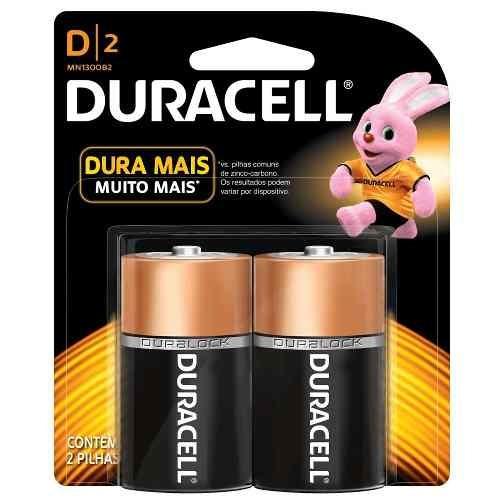 Kit 2 Cartelas - Pilha Duracell D Grande 1,5v Com 2 Unidades