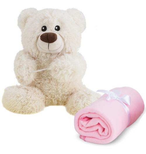 Urso Pelucia Com Cobertor Rosa Manta Para Bebê Enxoval