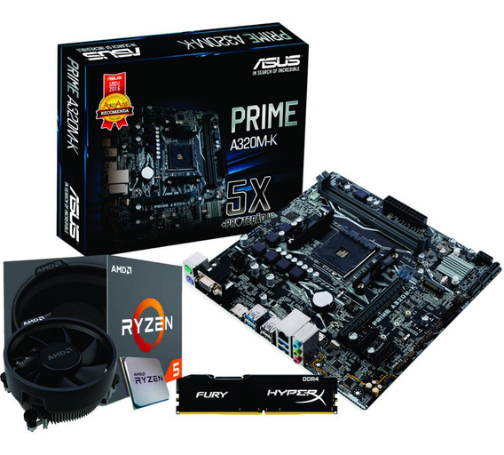 Kit Amd Ryzen R5 2600 Mb Asus A320m K Fury 8gb Ddr4 2400mhz