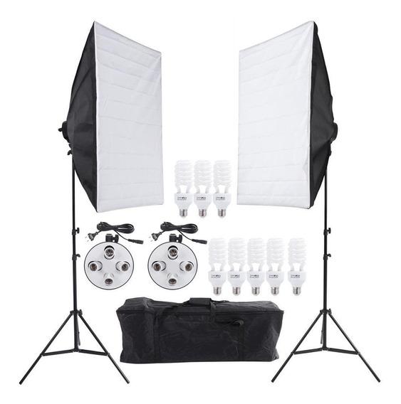 Kit Luz Continua Soft-box 50x70 C/8 Lampadas Completo C/ Nf