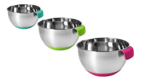 Set 3 Bowls Medidores Acero Base Silicona Reposteria