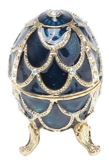 Porta-jóias De Zamac Oval Fabergé Azul 5,5x5,5x9cm