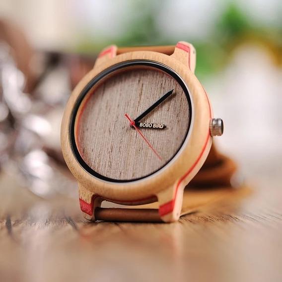 Relógio De Madeira Bobo Bird Feminino Couro Marrom + Brinde