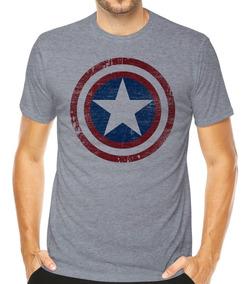 Camisa Camiseta Capitão América Marvel Escudo Estilizado