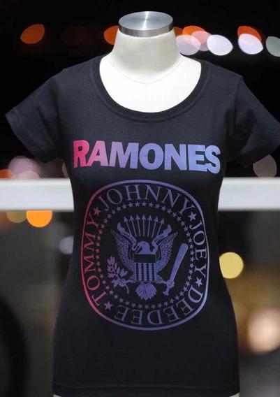 Camiseta Baby Look Ramones Degradê Clássica