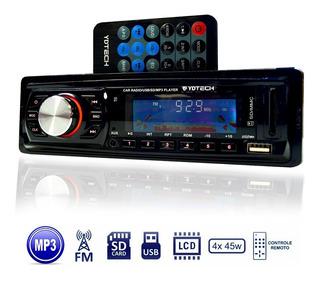 Toca Rádio Fm P/ Carro Mp3 Pen Automotivo Usb Sd Aux Player