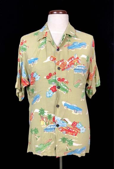 Camisa Hawaiana Vintage Rayon Classic Cars Pineapple Conect