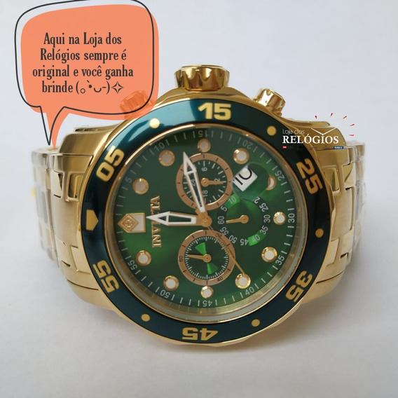 Relógio Invicta Pro Diver 0075 Verde Dourado B Ouro 18k
