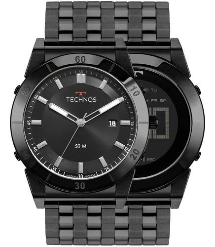 Relógio Technos Masculino Curvas Preto 1s13cr/4p