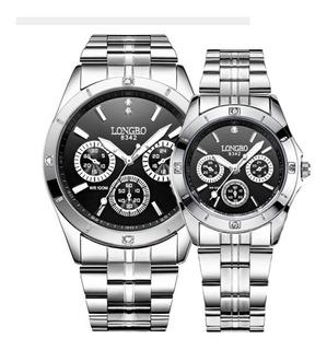 Reloj Novios Lb 8342 Por 2, Reloj Hombre Y Mujer, Acero