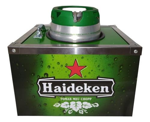 Imagem 1 de 3 de Porta Barril Chopp Heineken 5 Litros + 6 Porta Copos Gratis