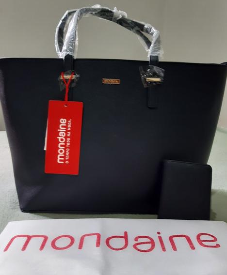 Bolsa Grande Preta Ombro Mondaine + Porta Cartões