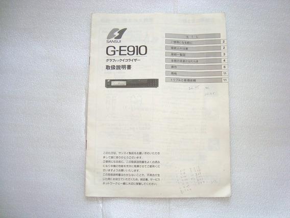 Manual Instruçoes Graphic Equaliz G-e910 Sansui - Usado N Es