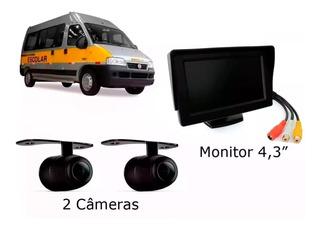 Kit Van Escolar 2 Câmeras Frontal E Traseira + Tela 4.3 Pole
