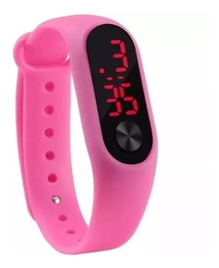 Relogio Digital Esportivo Bracelete Led Unissex (cor Rosa)