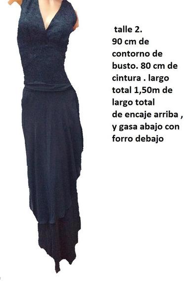 Vestido De Encaje Y Gasa Oferta Talle 2 De Fiesta Largo!!!