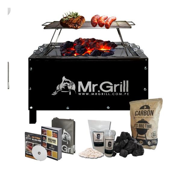 Mr.grill - Caja China Mediana Jr S/r Black + Carbon+sal