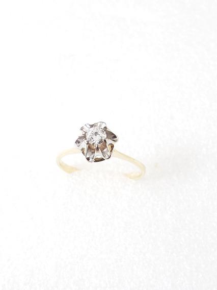 Anel Solitário Moderno Ouro Amarelo Com Diamante 20 Pontos
