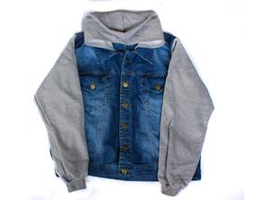 Jaqueta Jeans Com Moletom Casaco Feminina Capuz Plus Size