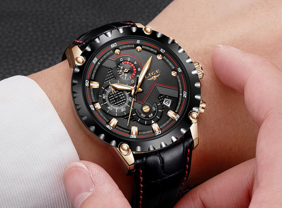 Relog Lige Luxury Quartz Gold Casual Military Nuevo
