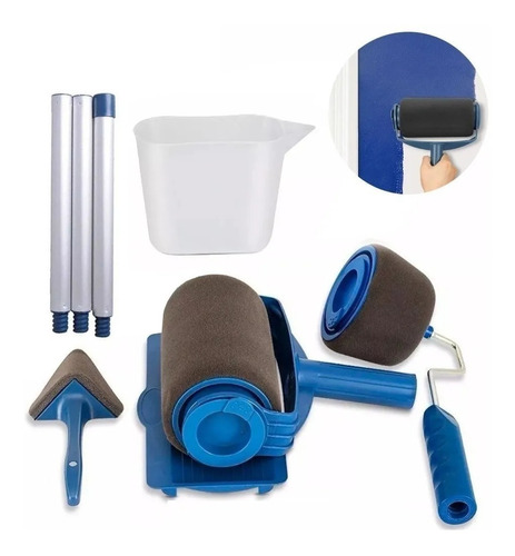 Imagen 1 de 10 de Kit 8 Piezas Rodillo Brocha Para Pintar Rellenable Roller