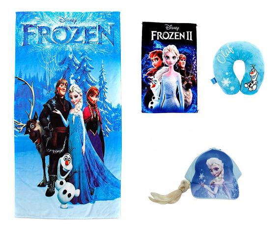 Kit Toalha De Banho Frozen Azul + Toalha De Rosto Frozen