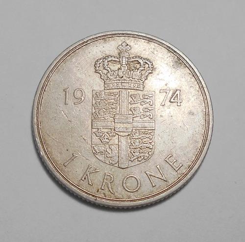 Dinamarca Moneda De 1 Corona 1974 - Km#862.1 - Margrethe Ii