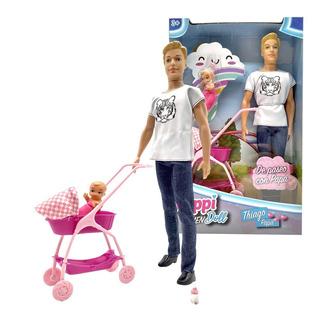 Muñeco Thiago Con Hijo Simil Ken