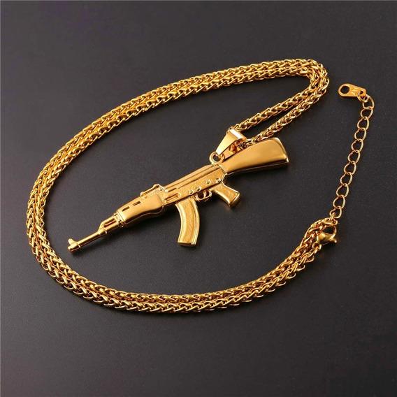 Colar Corrente Fuzil Ak 47 Cor Dourado