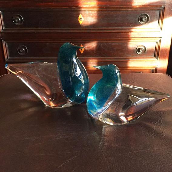 Antigo Par De Esculturas Art Deco Cristal Francês Daum Nancy