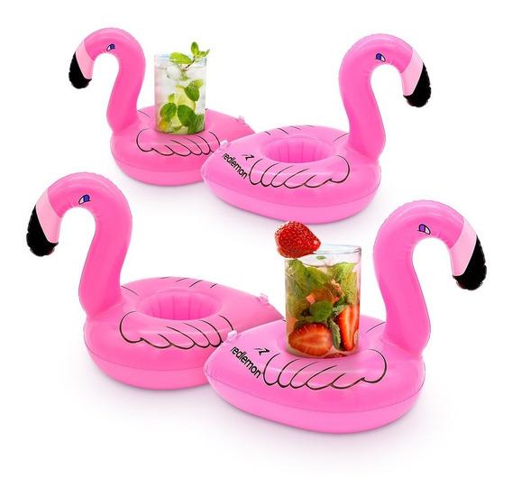 Redlemon Portavasos Y Posavasos Inflable Flamingo (4 Pack)