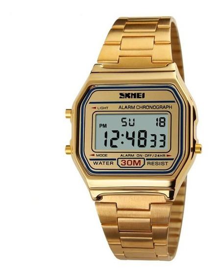 Relógio Feminino Original Skmei Aço Digital Retrô Barato