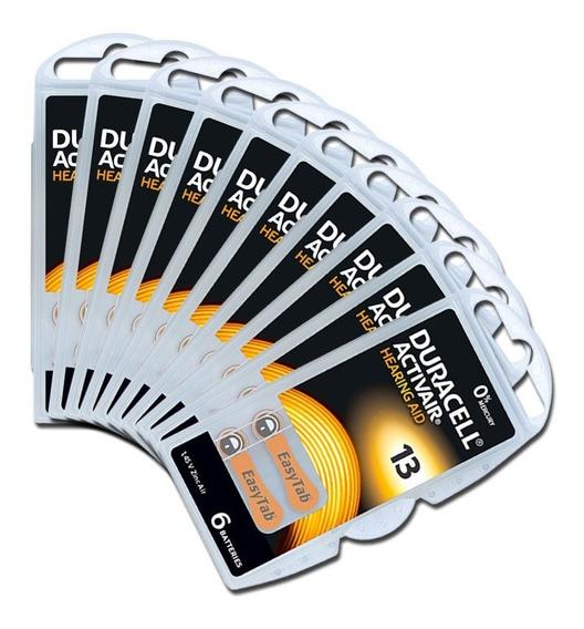 60 Baterias Pilhas Aparelho Auditivo Duracell 13 Pr48