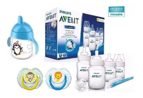 Set Recien Nacido Avent Classic ® 4 Mamaderas 3 Chupetes Cepillo Vaso - Box Pack Varon