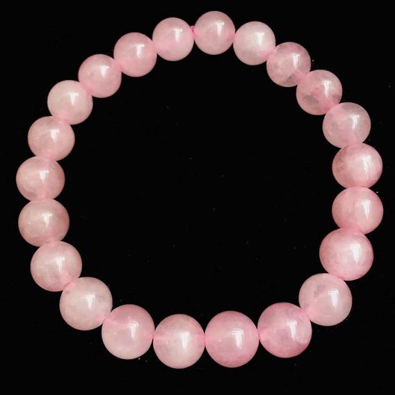 Pulseira Pedras Cristal Natural Esferas Quartzo Rosa Elástic