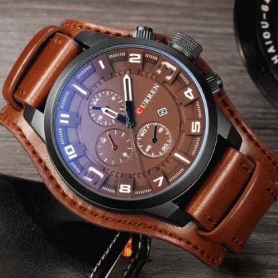 Relógio Masculino Curren Importado De Couro E Fundo Preto