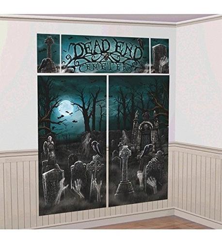 Creepy Cemetery Halloween Party Scene Setter Decoration, 5 P