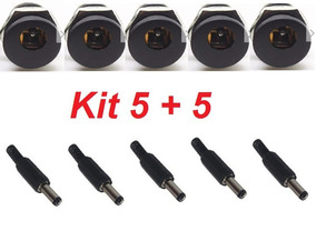 Kit 5 Conectores P4 Femea 2,1x5,5mm + 5 Plugs P4 Macho