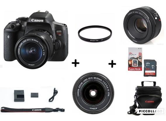 Câmera T6i C/ 18-55mm + Yn 50mm + 64gb + Bolsa + Filtro 52mm