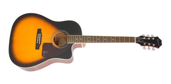 Guitarra EpiPhone Electro Acústica Aj-220 Sce Ebony