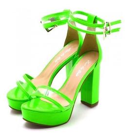 Sandália Plataforma Salto Alto Verniz Preto E Verde Neon