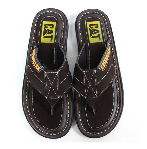 Chinelo Masculino Caterpillar 100% Couro + Brindes