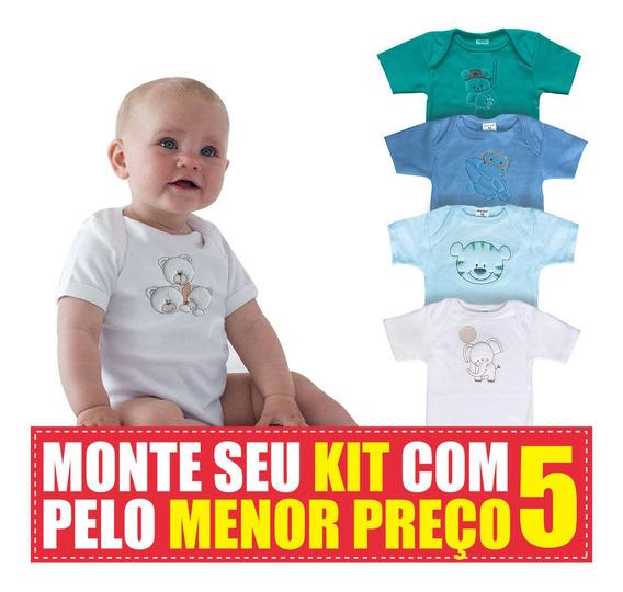 Kit 5 Bodys De Bebê Manga Curta Maxi Baby Unissex Você Monta
