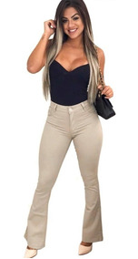 Calça Jeans Flare Feminina Estilo Pitbull Levanta Bumbum .