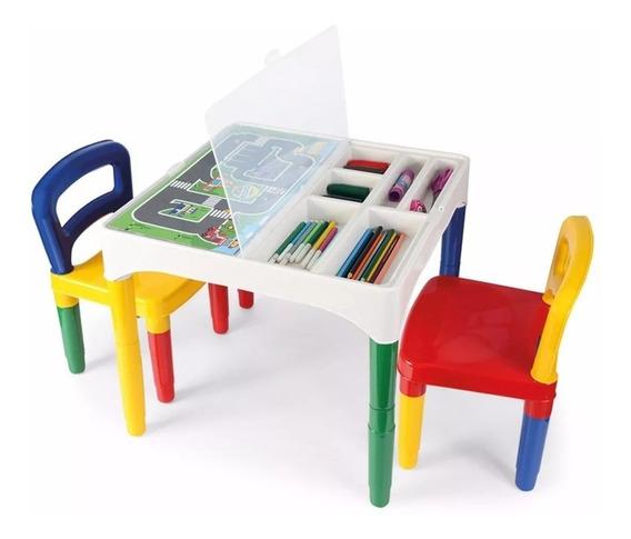 Mesa Mesinha Infantil Didática Com 2 Cadeiras E Porta Objetos - Poliplac