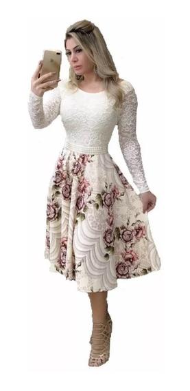 Vestido Feminino Midi Luxo Manga Longa Casamento Civil Moda Evangélica
